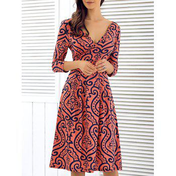 3/4 Sleeve Plunging Neck Printed Dress