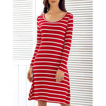 Scoop Neck Long Sleeve Striped Dress