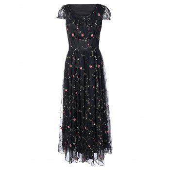 Floral Embroidered Gauze Maxi Wedding Guest Dress