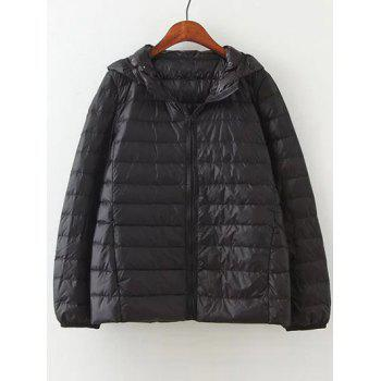 Zip Up Hooded Short Down Coat