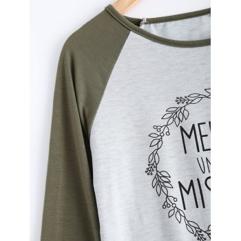 garland lettre imprimer raglan t shirt gris clair xl in manches longues. Black Bedroom Furniture Sets. Home Design Ideas