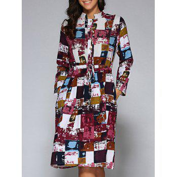 Drawstring Waist Multicolor Plaid Midi Shirt Dress