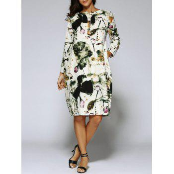 Chinese Style Painting Long Sleeve Tunic Linen Dress