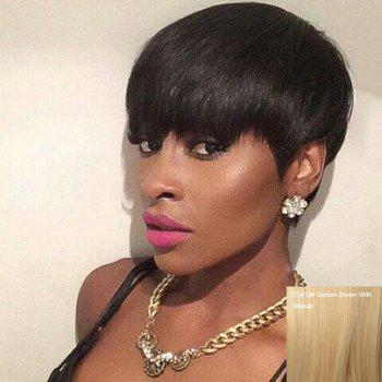 Skilful Short Neat Bang Straight Real Natural Hair Capless Wig