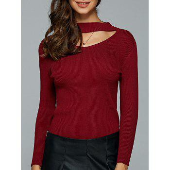 Hollow Out Knitted Ribbed Pullover