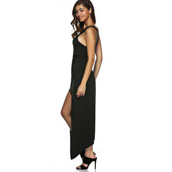 Asymmetric Zip Knotted Long Night Out Dress - BLACK M