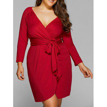 Plus Size Lace-Up Jersey Knit Wrap Dress With Long Sleeves