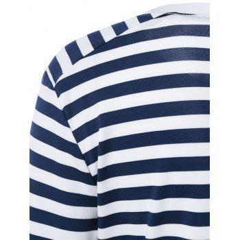 Striped Elbow Patch T-Shirt - Bleu et Blanc S
