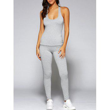Color Block Tank Top and Stretch Pants Yoga Suit