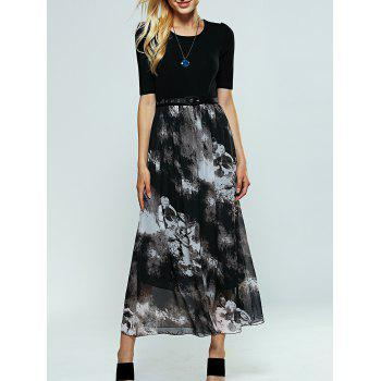 Ink Print Belted Maxi Dress