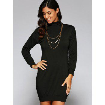 Turtle Neck Massimo Dress - BLACK BLACK