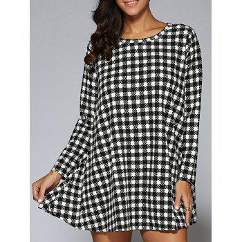 Long Sleeve Plaid Mini Trapeze Dress