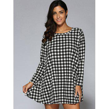 Long Sleeve Plaid Mini Robe Trapèze - Noir ONE SIZE