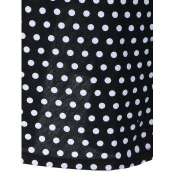 Halter Polka Dot Fit and Flare Dress - BLACK 2XL