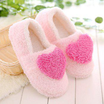 Cotton Colour Block Heart Pattern House Slippers