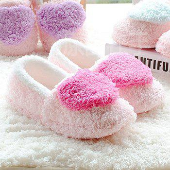 Cotton Colour Block Heart Pattern House Slippers - SIZE(40-41) SIZE(40-41)