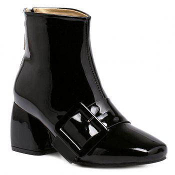 Patent Leather Square Toe Short Boots