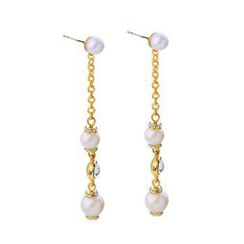 Pair of Faux Pearl Long Chain Earrings