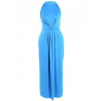 High Waist Tied-Up Ruched Maxi Dress