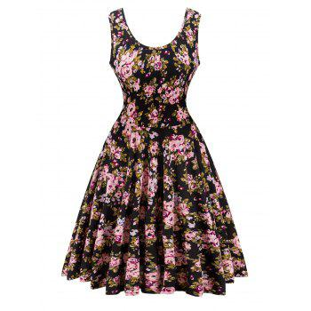Retro Style Knitted Floral Flare Dress