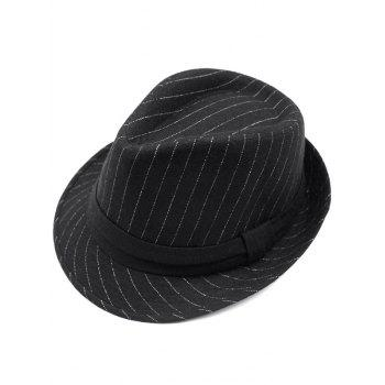 Striped Keep Warm Wool Belt Fedora Hat