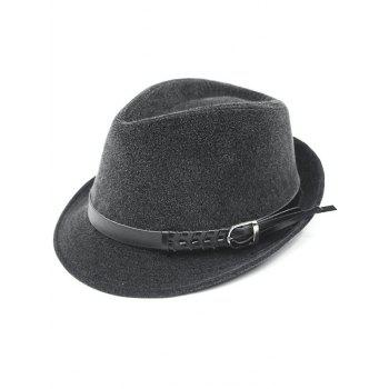 Faddish Embellished Flanging Pin Buckle Belt Fedora Hat