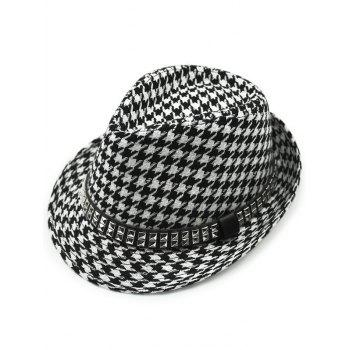 Keep Warm Wool Houndstooth Belt Buckle Rivets Jazz Hat