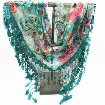 Feather Pendant Flower Pattern Openwork Lace Triangle Scarf