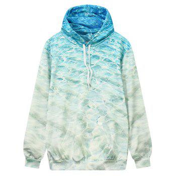 Front Pocket Wave Pattern Outerwear Hoodie