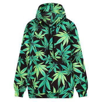 Front Pocket Leaf Print Outerwear Hoodie