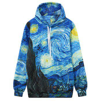 Front Pocket Abstract Print Outerwear Hoodie