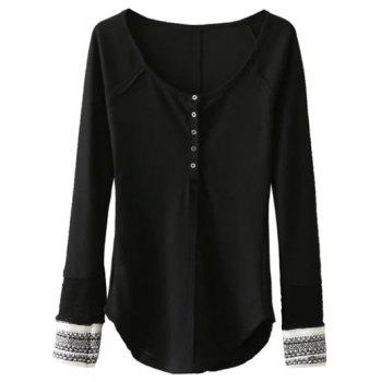 Scoop Neck Long Sleeve Top - BLACK BLACK