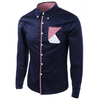 Turn-Down Collar Long Sleeve Gingham Splicing Design Shirt