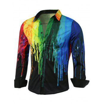 Covered Button Front Colorful Paint Dripping Print Shirt