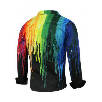 Covered Button Front Colorful Paint Dripping Print Shirt - BLACK L