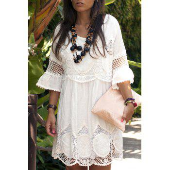 Fashionable Women's Scoop Neck 3/4 Sleeve Lace Splicing Dress