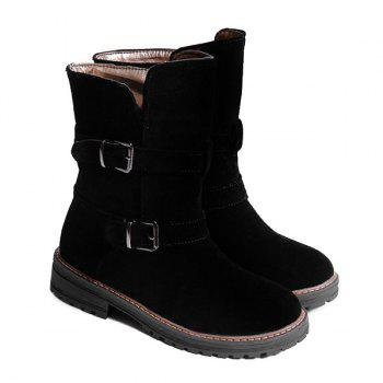 Slip On Buckle Suede Ankle Boots