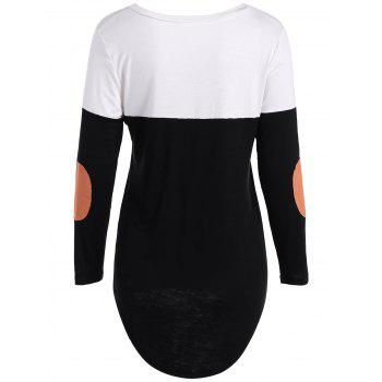 Patchy Sleeve High Low Hem T-Shirt - BLACK M