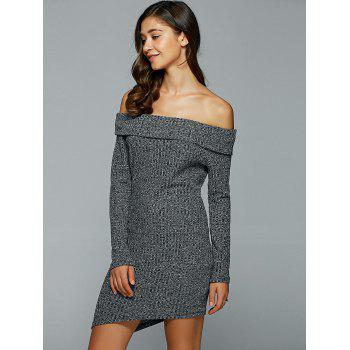 Off-The-épaule Heather Asymétrique Robe - Gris S
