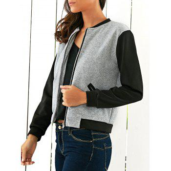 Two Tone Zipper Casual Jacket