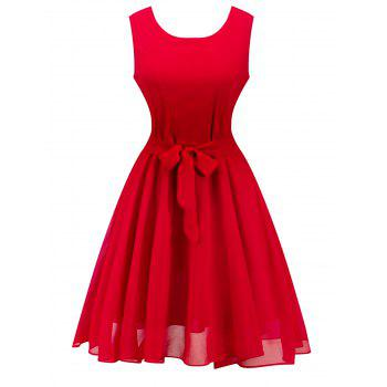 Retro Sleeveless Belted High Waisted Swing Dress
