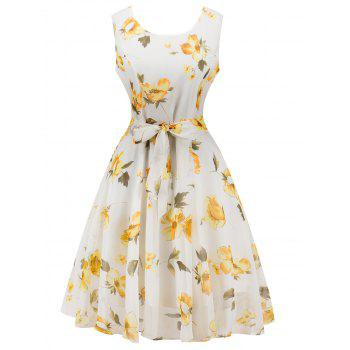 Retro Belted High Waisted Floral Print Dress
