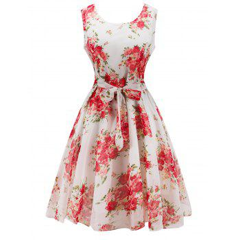 Retro Belted High Waisted Flowers Dress