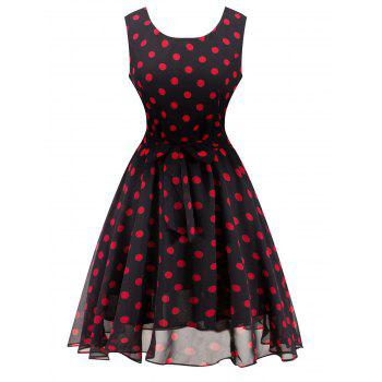Retro Belted High Waisted Polka Dot Dress