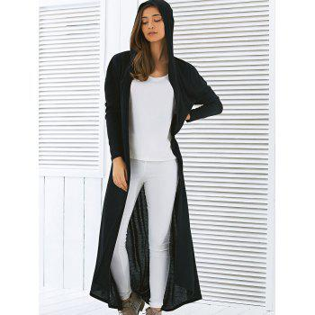 2017 Hooded Maxi Long Duster Cardigan BLACK S In Sweaters ...