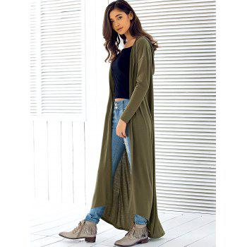 2018 Hooded Maxi Long Duster Cardigan ARMY GREEN M In Sweaters ...