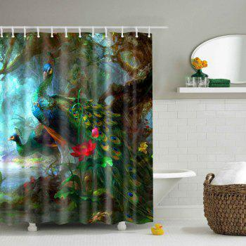 Peacock Printed Design Polyester Shower Curtain - COLORMIX S