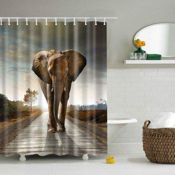 Bathroom Waterproof Elephant Printed Shower Curtain - BROWN S
