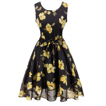 Chiffon Floral Knee Length Belted Flare Dress