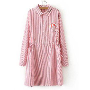Striped Drawstring Waist Long Sleeve Shirt Dress